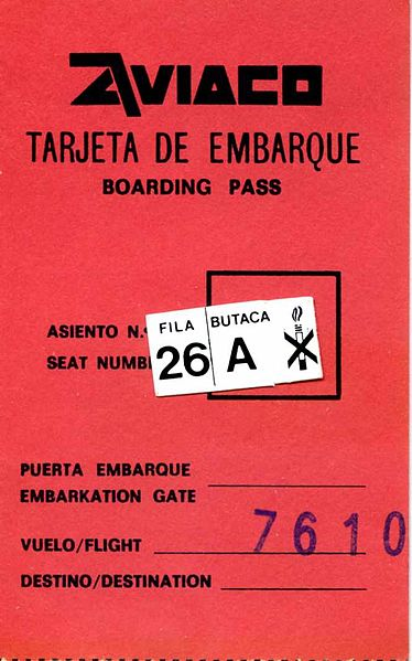 Aviaco Boarding Pass