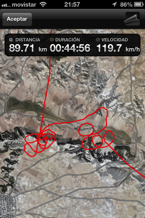 GPS track, the circles are thermals climbing
