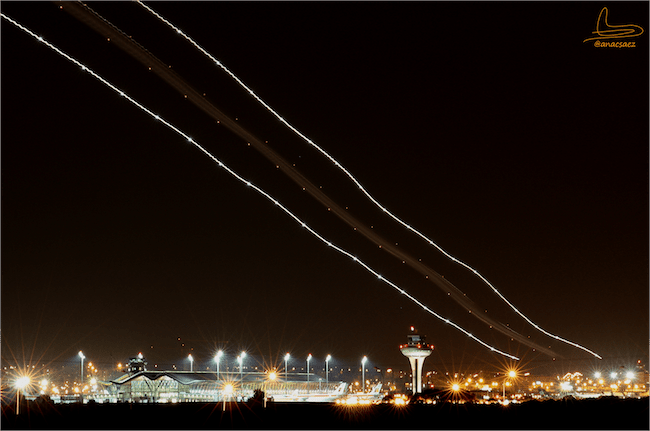LEMD Landing at Night. Image Credit: Ana C.Saez