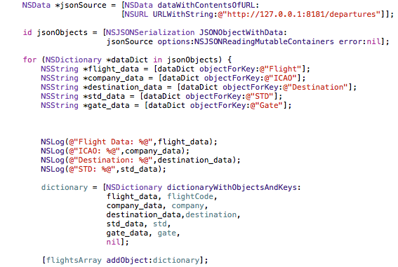 Calling the AODB Departure Flights Web Service. Objective-C code.