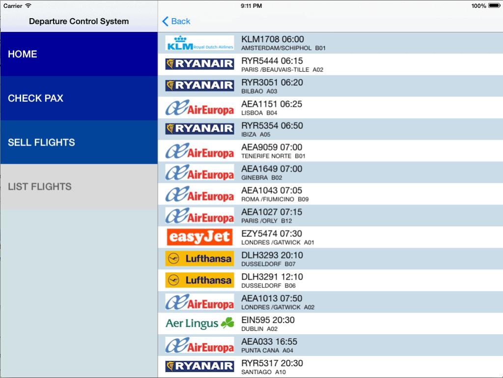 List Flights screen