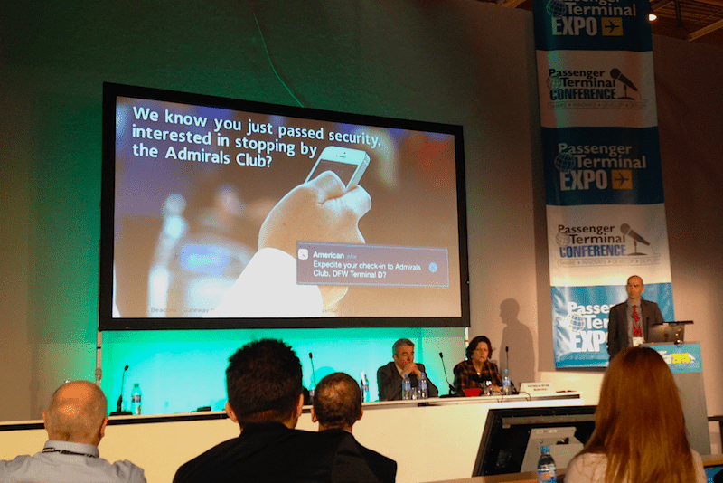 Renaud Irminger, Director of SITA Lab, talking about beacons at PTE2015