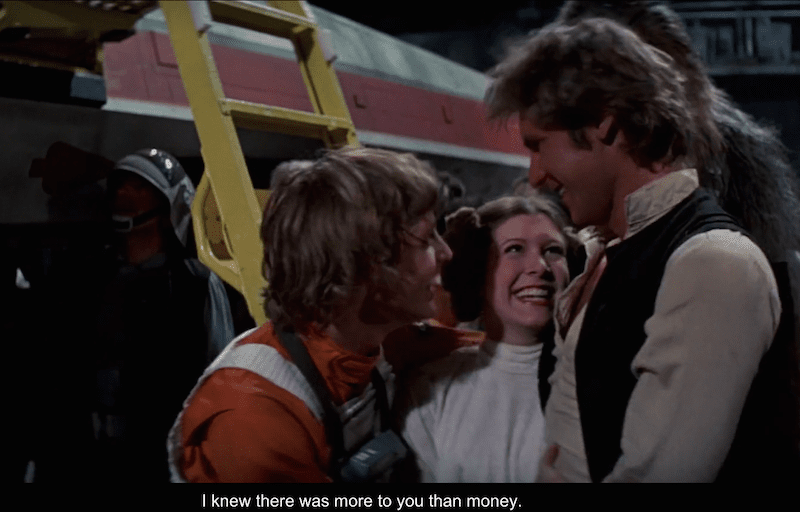 Even for a mercenary as Han Solo is, not everything is money. Credit: Disney (LucasFilms)